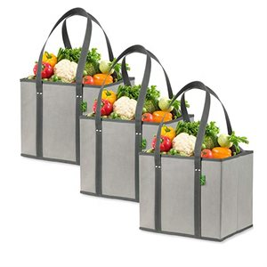 Collapsible Grocery Shopping Box Bags with Reinforced Bottom, Premium Quality. (3 Pack - Gray)
